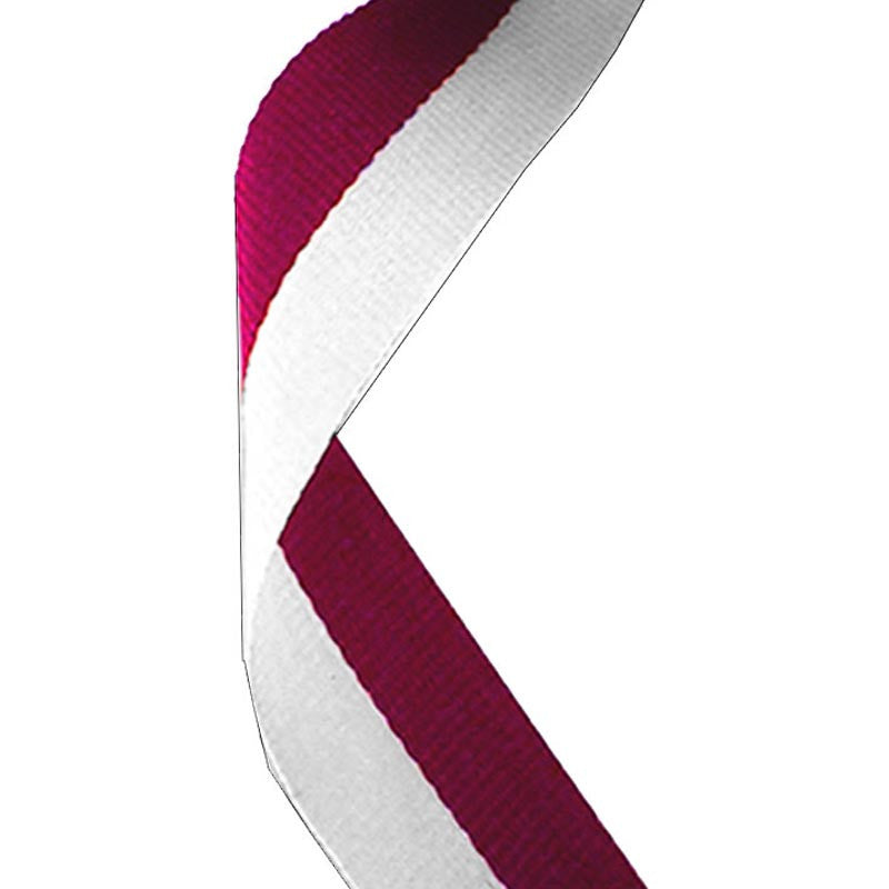 Maroon & White Medal Ribbon - Bracknell Engraving & Trophy Services