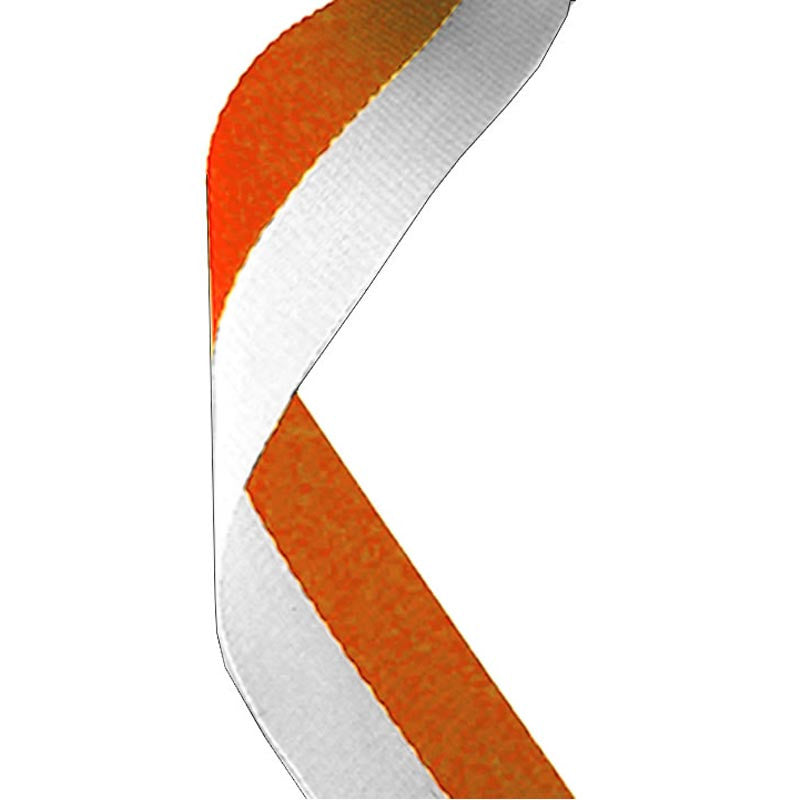 Orange & White Medal Ribbon - Bracknell Engraving & Trophy Services