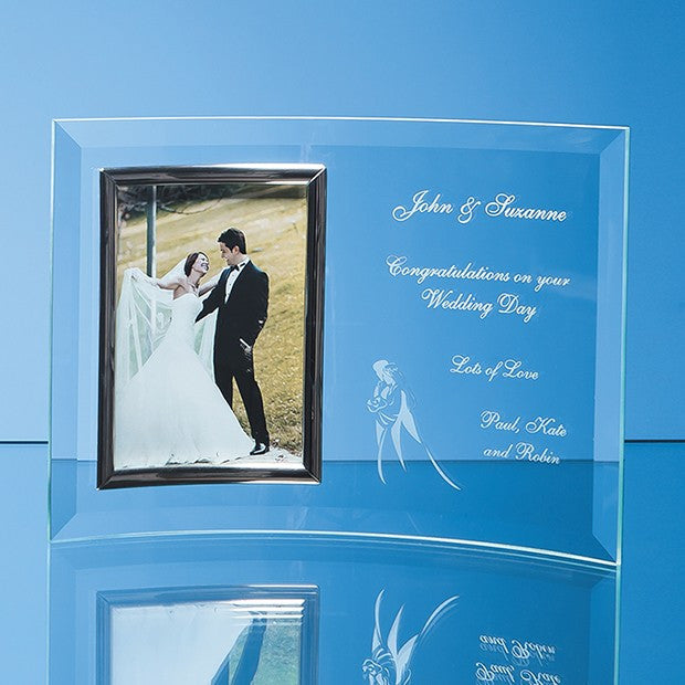 Bevelled Glass Crescent Photo Frame (Portrait) - Bracknell Engraving & Trophy Services