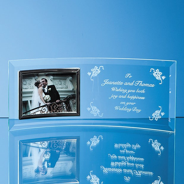 Bevelled Glass Crescent Photo Frame (Landscape) - Bracknell Engraving & Trophy Services