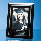 Black Surround with Silver Inlay Glass Photo Frame - Bracknell Engraving & Trophy Services