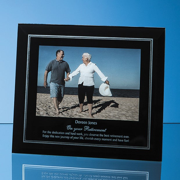 Black Surround with Silver Inlay Glass Photo Frame Landscape - Bracknell Engraving & Trophy Services