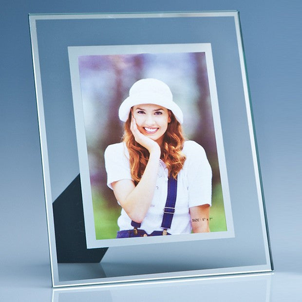 Clear Glass Photo Frame with a Mirror Inlay - Bracknell Engraving & Trophy Services