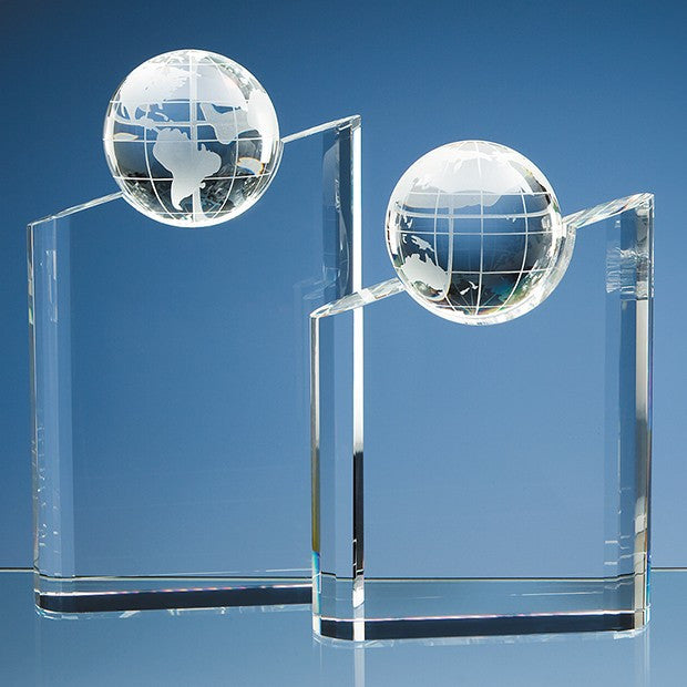 Optical Crystal Globe Mountain Award - Bracknell Engraving & Trophy Services
