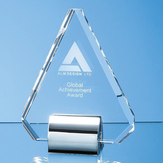 Optical Crystal Diamond mounted on a Chrome Stand - Bracknell Engraving & Trophy Services