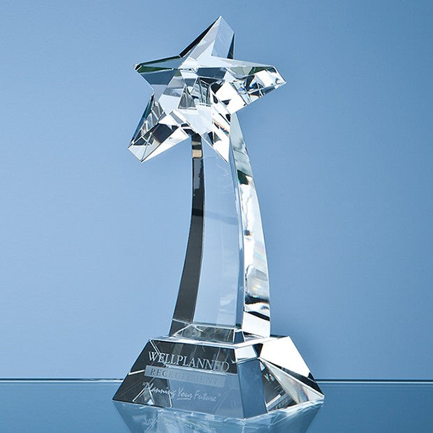 Optical Crystal Shooting Star Award - Bracknell Engraving & Trophy Services