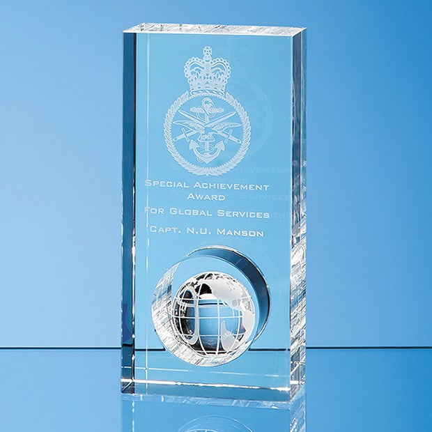 Optical Crystal Globe in the Hole Award - Bracknell Engraving & Trophy Services