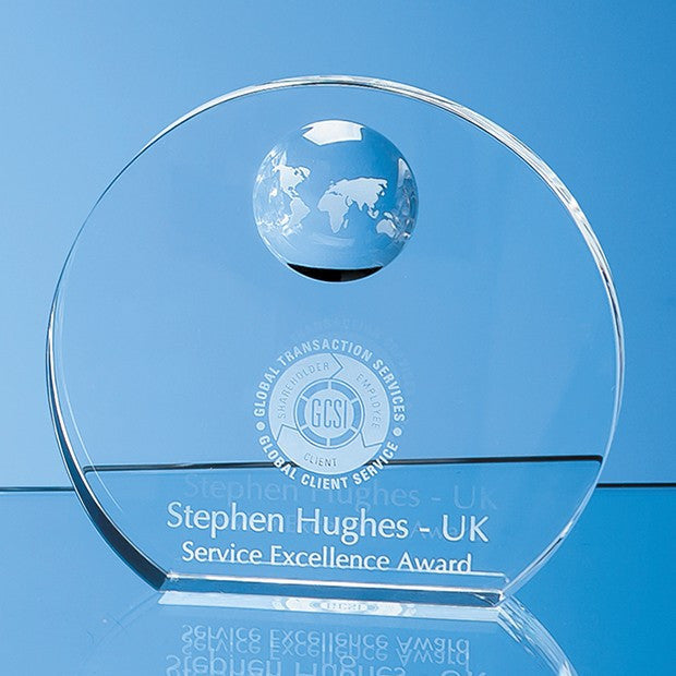 Optical Crystal Circle with Recessed Globe - Bracknell Engraving & Trophy Services