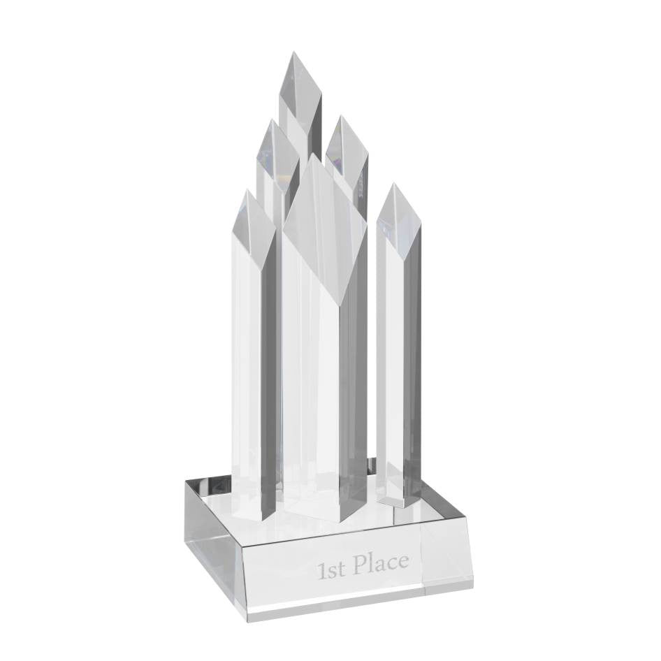 AC139 Clear Optical Crystal Pillar Award - Bracknell Engraving & Trophy Services