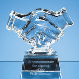11.5cm Optical Crystal Handshake Award - Bracknell Engraving & Trophy Services