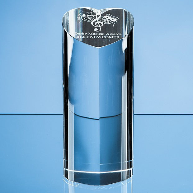 Optical Crystal Heart Column Award - Bracknell Engraving & Trophy Services