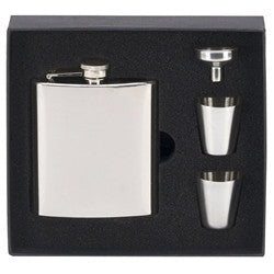 6oz Steel Hip Flask with Cups - Bracknell Engraving & Trophy Services