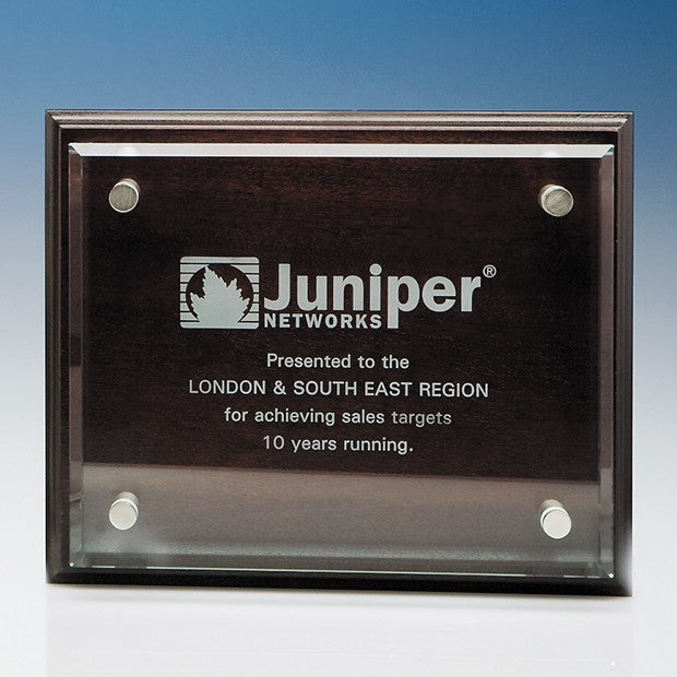 Clear Glass Rectangle mounted on a Mahogany Plaque - Bracknell Engraving & Trophy Services