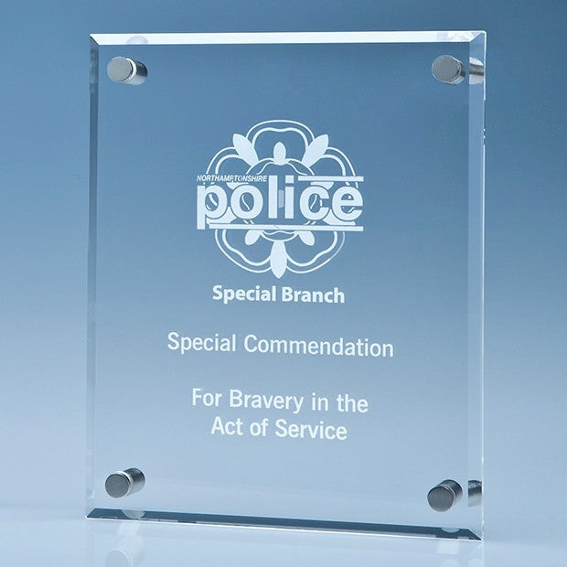 Clear Glass Wall Display Plaque inc Fixing Kit - Bracknell Engraving & Trophy Services