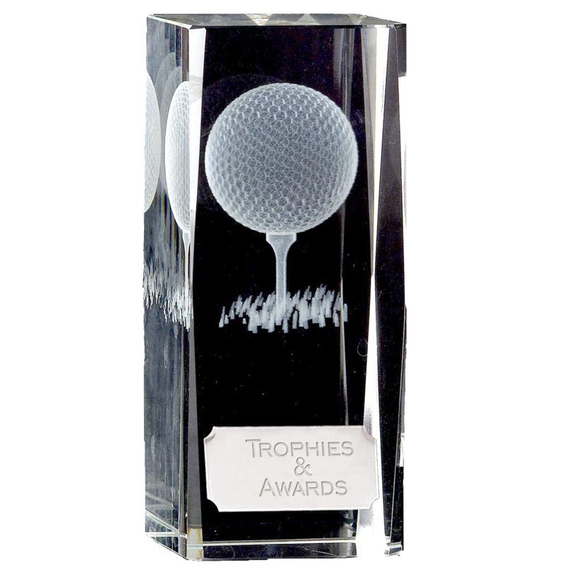 KK118 Golfball Crystal Block - Bracknell Engraving & Trophy Services