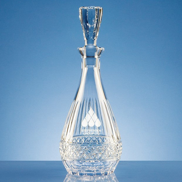 Lead Crystal Oval Wine Decanter - Bracknell Engraving & Trophy Services