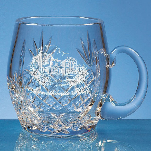 0.6ltr Lead Crystal Barrel Panel Tankard