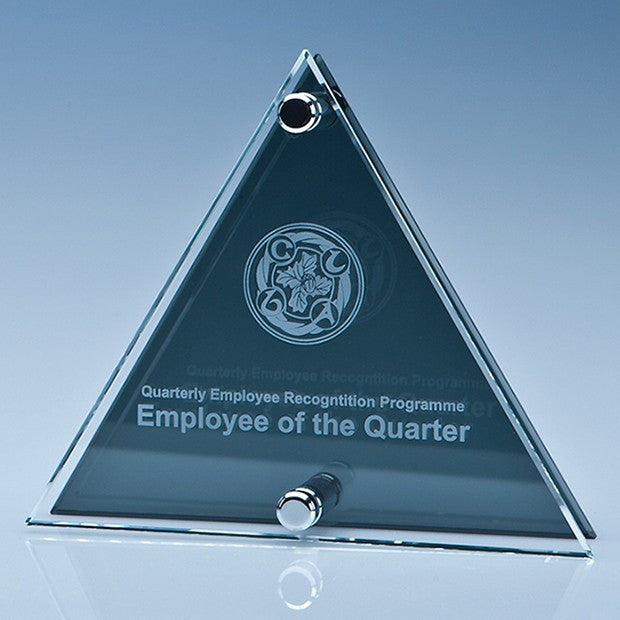 Clear and Smoked Glass Triangle Plaque - Bracknell Engraving & Trophy Services