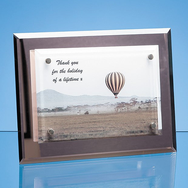 Mirrored Desk Plaque with Mounted Clear Rectangle - Bracknell Engraving & Trophy Services