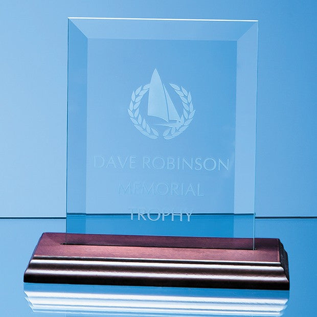 Bevelled Glass Rectangle on Wood Base - Bracknell Engraving & Trophy Services
