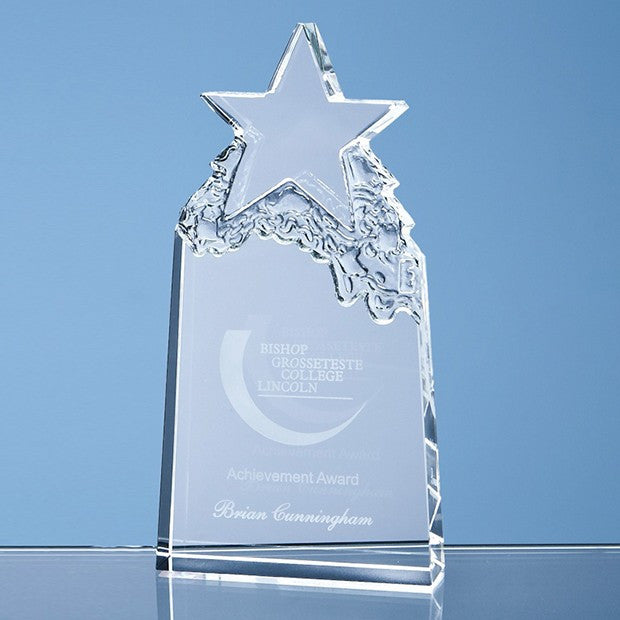 Optical Crystal Star Mountain Award - Bracknell Engraving & Trophy Services