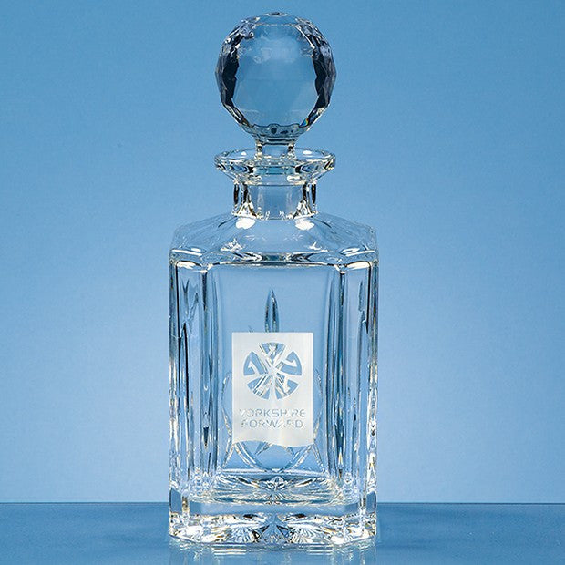 Lead Crystal Panel Square Spirit Decanter - Bracknell Engraving & Trophy Services