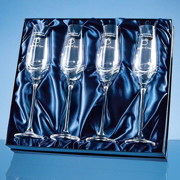 Diamante Champagne Flutes (Set of 4)