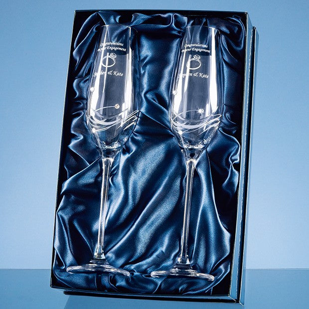 2 Diamante Champagne Flutes in a Presentation Box