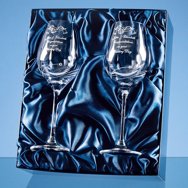 Diamante Wine Glasses (Pair) - Bracknell Engraving & Trophy Services