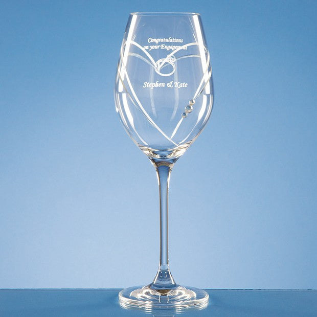 Diamante Heart Cut Wine Glass - Bracknell Engraving & Trophy Services