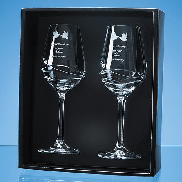 2 Diamante Wine Glasses Modena Design - Bracknell Engraving & Trophy Services