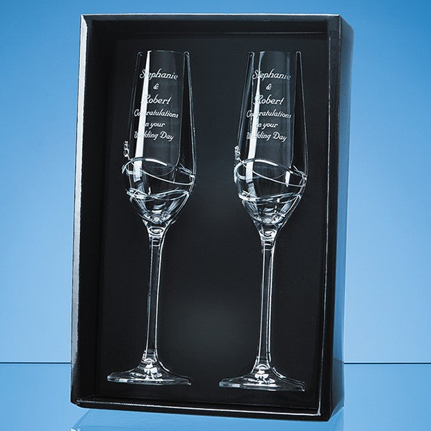 2 Diamante Champagne Flutes Modena - Bracknell Engraving & Trophy Services