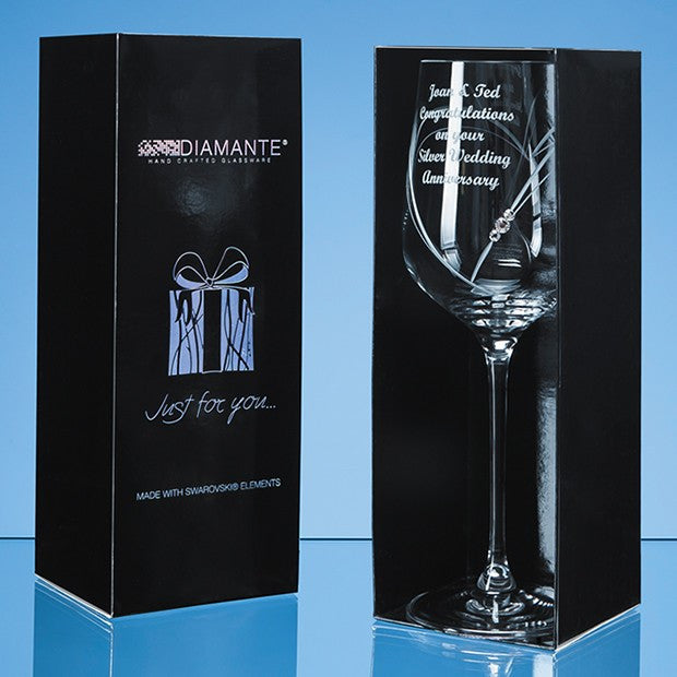 Engraved 'Just For You' Diamante Wine Glass