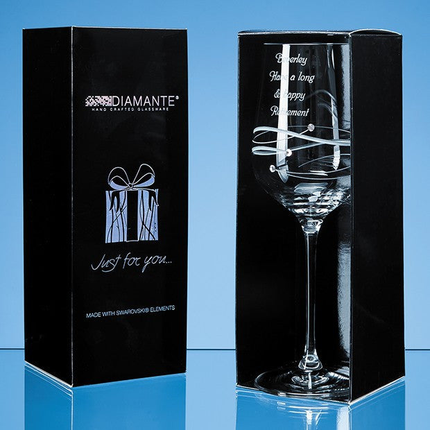 Engraved 'Just For You' Diamante Wine
