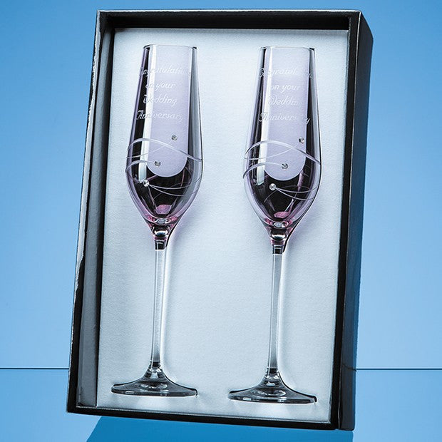 2 Pink Diamante Champagne Flutes
