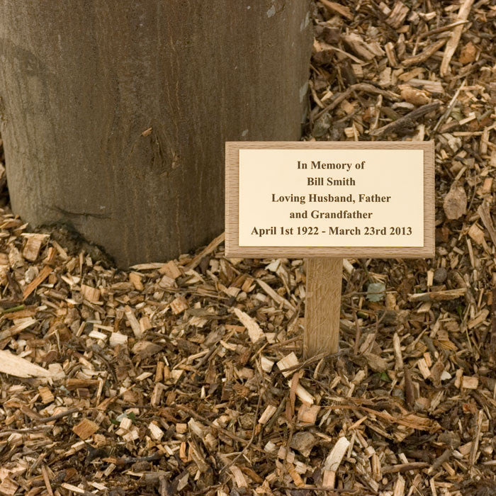 Memorial Brass Plaque on Wooden Stake