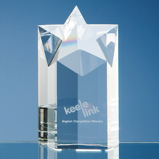 Optical Crystal Star Column Award - Bracknell Engraving & Trophy Services