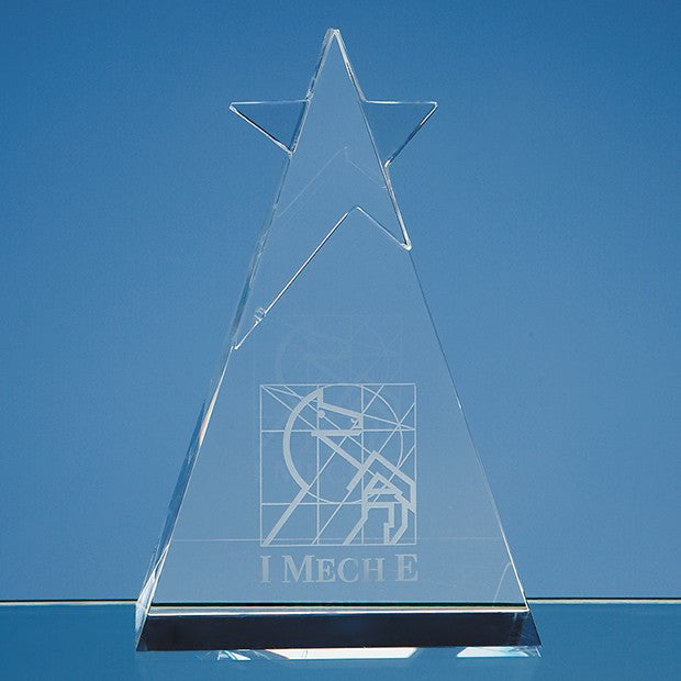 15cm Optical Crystal Star Triangle Award - Bracknell Engraving & Trophy Services