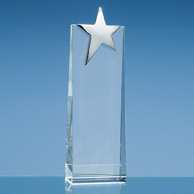 Optical Crystal Rectangle with Silver Star - Bracknell Engraving & Trophy Services