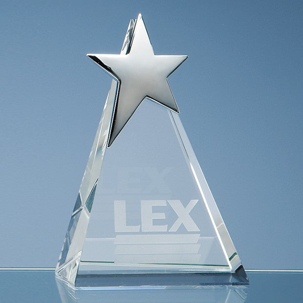 Optical Crystal Triangle Award with Silver Star - Bracknell Engraving & Trophy Services