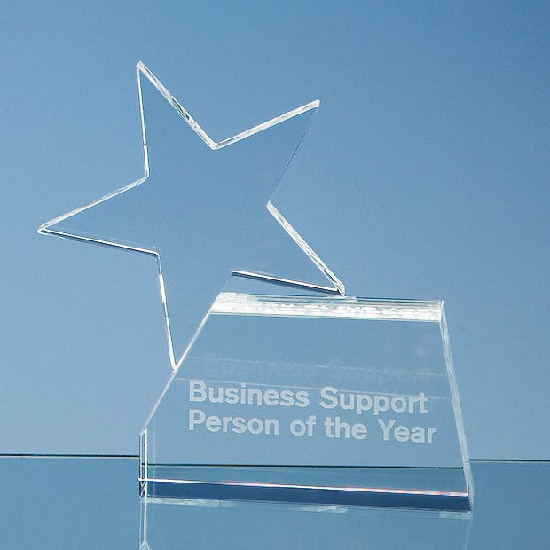 15cm Optical Crystal Single Rising Star Award - Bracknell Engraving & Trophy Services