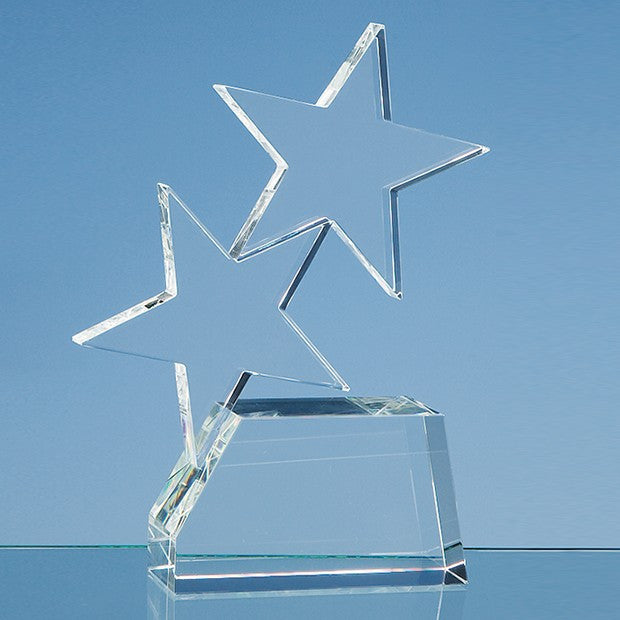 20cm Optical Crystal Double Rising Star Award - Bracknell Engraving & Trophy Services
