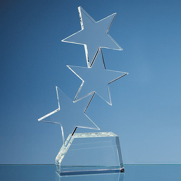 28cm Optical Crystal Triple Rising Star Award - Bracknell Engraving & Trophy Services