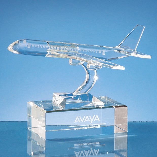 20.5cm Optical Crystal Plane Award - Bracknell Engraving & Trophy Services