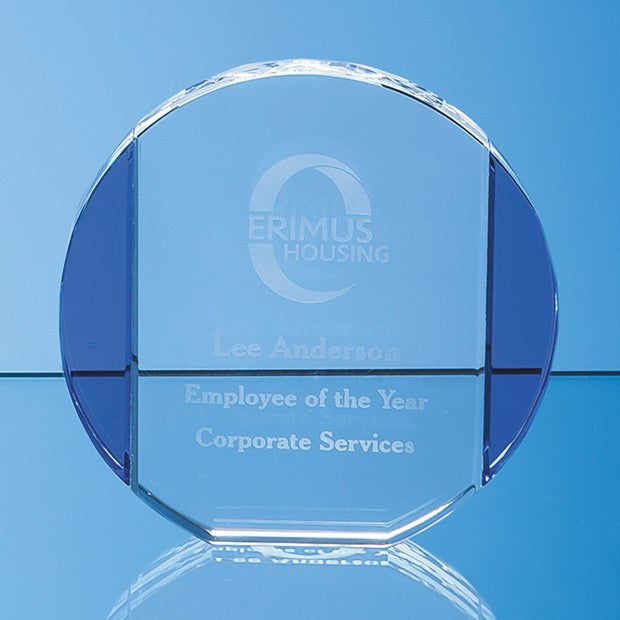 Clear & Sapphire Blue Column Circle Award - Bracknell Engraving & Trophy Services