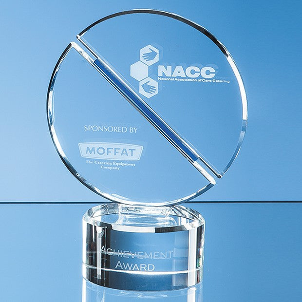 Optical Crystal Mounted Circle Award - Bracknell Engraving & Trophy Services