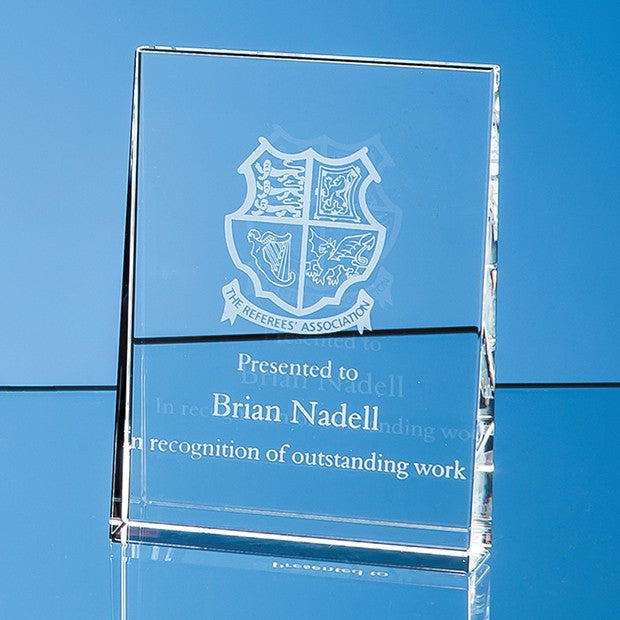 Optical Crystal Vertical Wedge Award - Bracknell Engraving & Trophy Services
