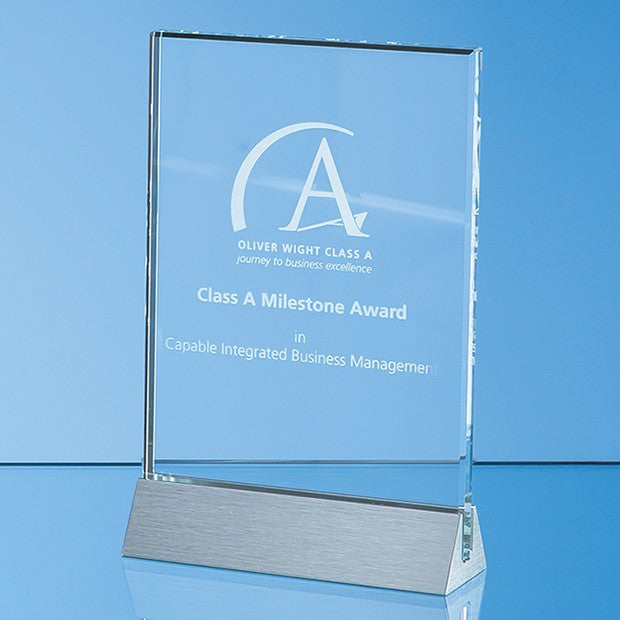 Clear Glass Rectangle on an Aluminium Base - Bracknell Engraving & Trophy Services