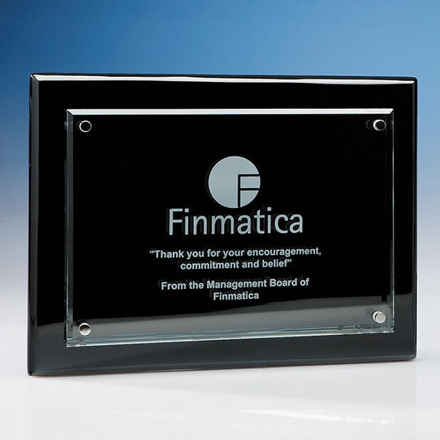 Clear Rectangle mounted on a Black Wood Plaque - Bracknell Engraving & Trophy Services