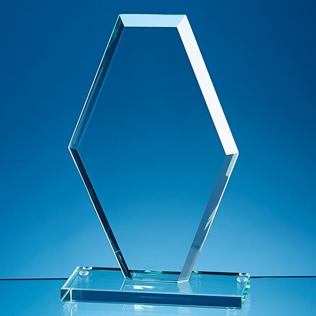 Jade Glass Facet Clipped Diamond Award